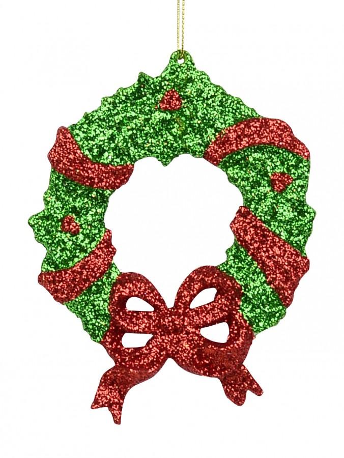 Red & Green Glitter Wreath Hanging Ornament - 13cm