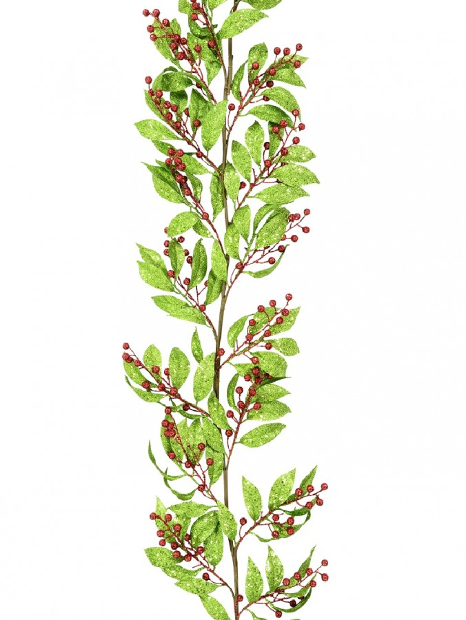 Light Green Glitter & Red Berry Spray Garland - 1.6m