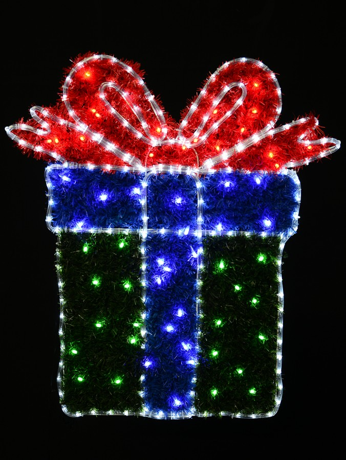 Red & Green, & Cool White LED Present Rope Light Motif - 95cm