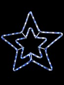 Blue & Cool White LED Double Star Rope Light Silhouette - 52cm