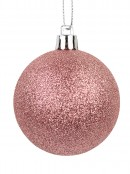 Blush Pink & Champagne Gloss, Matte & Glitter Baubles - 12 x 60mm