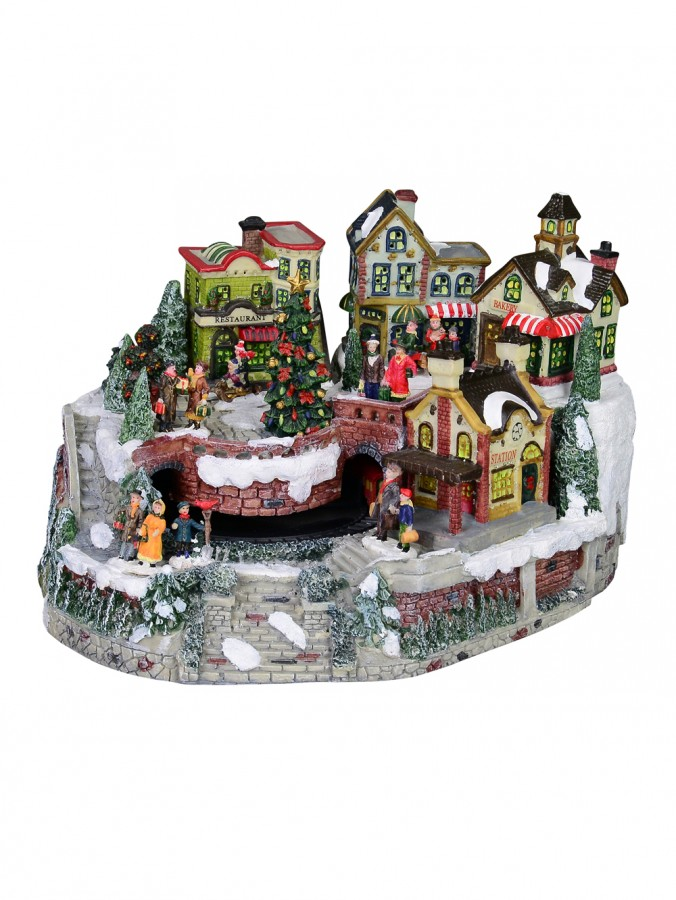 Large Hillside Festive Christmas Village With Moving Train Feature - 35cm