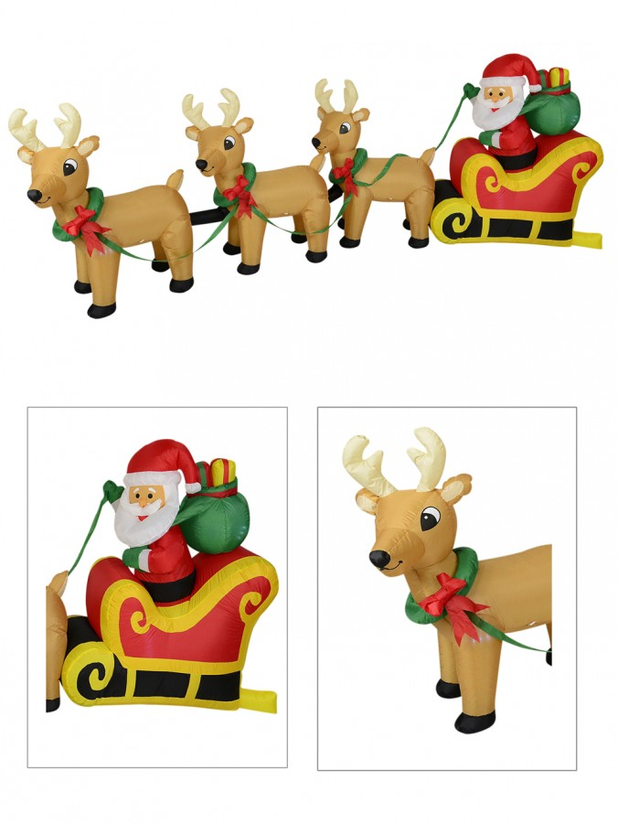 Santa & Reindeer Christmas Sleigh Illuminated Inflatable - 3.4m