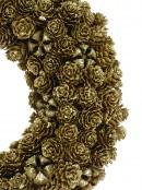 Gold Glitter Mini Pinecone Wreath - 30cm