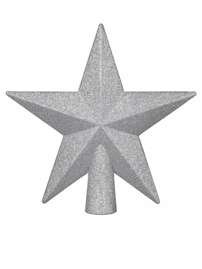 Brushed Metallic Silver Star Tree Topper - 20cm