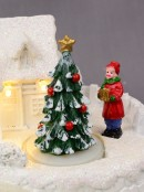 Snowy Winter Home With River Scene With LED Lights & Animated Tree - 13cm