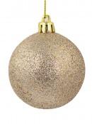 Matte Fawn, Shiny Bronze & Bonze Glitter Baubles - 9 x 60mm
