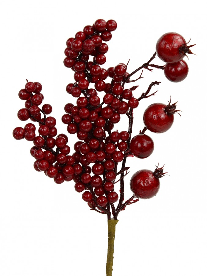 Various Size Deep Red Decorative Christmas Berry Pick - 14cm