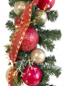 Pre-Decorated Red & Gold Bauble & Pine Garland - 2.7m