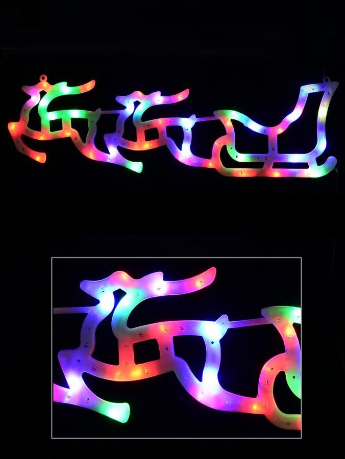 Illuminated Multi Colour Sleigh & Two Reindeer Silhouette - 57cm