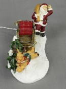 Santa, Sleigh & Reindeer With Illuminated Reins Resin Figurine - 12cm