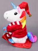 Animated & Colourful Christmas Unicorn On Sled - 23cm