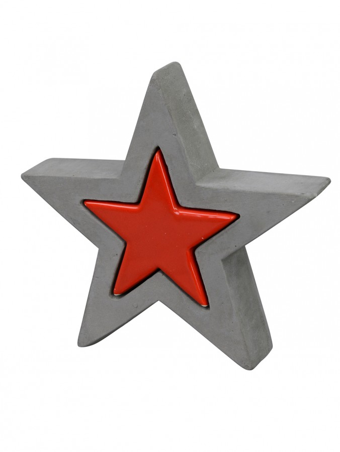 Ceramic & Concrete Look Double Star Standing Ornament in Red & Grey - 20cm