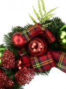 Red & Green Bauble Pre-Decorated Wreath With Tartan Ribbon - 48cm