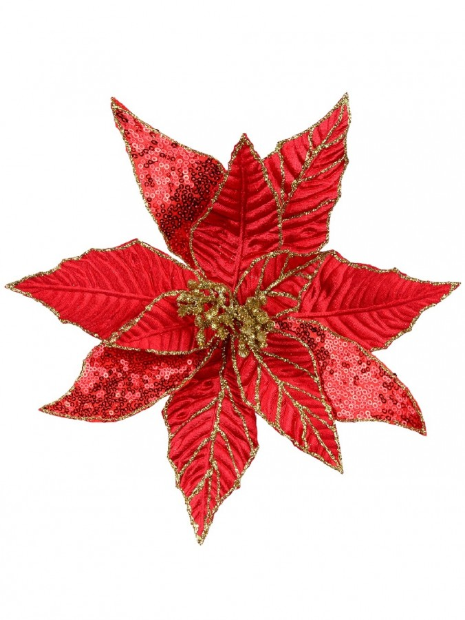 Three Style Red With Gold Glitter Decorative Poinsettia Floral Pick - 27cm