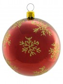 Metallic Red Baubles With Gold Glittered Patterns - 4 x 80mm
