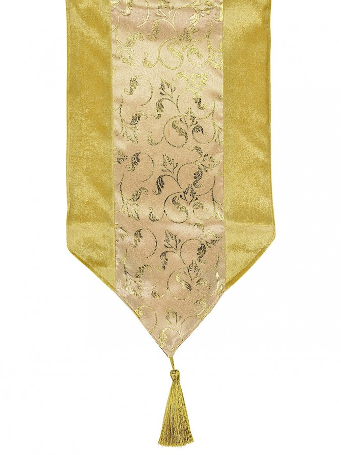 Gold Table Runner With Printed Organza Centre Panel - 1.8m