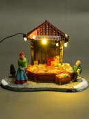 Illuminated Christmas Lolly Treats Street Market Stall Scene - 11cm
