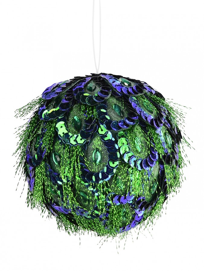 Emerald Green & Blue Peacock Feather Bauble Hanging Decoration - 80mm