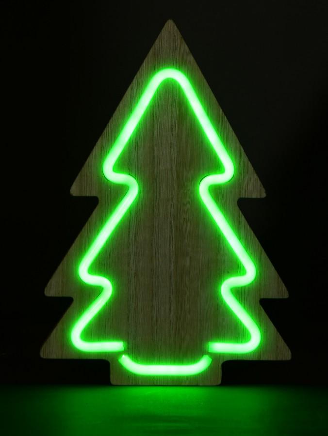 LED Green Neon Tube Light On Wooden Tree Silhouette - 29cm