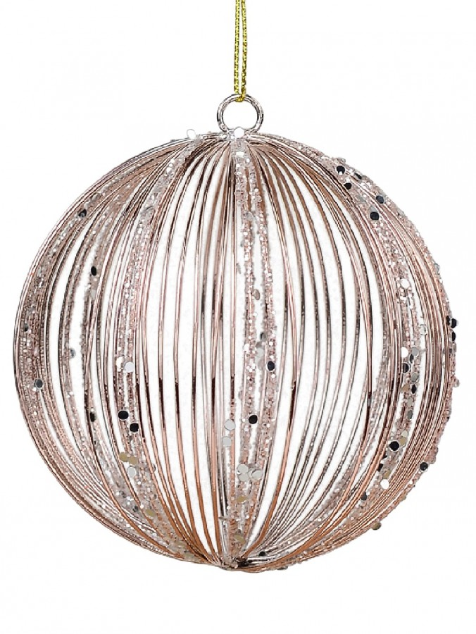 Rose Gold Wire Bauble Shape Christmas Tree Hanging Decoration - 80mm