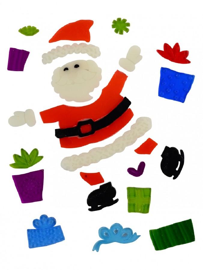 Skating Santa & Presents Gel Window Cling Christmas Decoration - 23cm