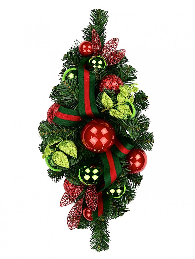Red & Green Centrepiece With Baubles & Striped Ribbon - 64cm