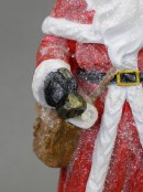 Traditional Santa Christmas Ornament Standing With Bell, Bag & Tree - 30cm
