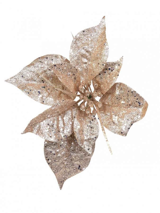 Rose Gold Glittered Decorative Poinsettia Floral Pick - 17cm