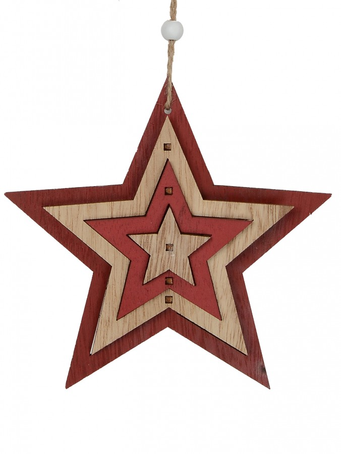Natural & Red Layered Wood Star Hanging Decoration - 15cm