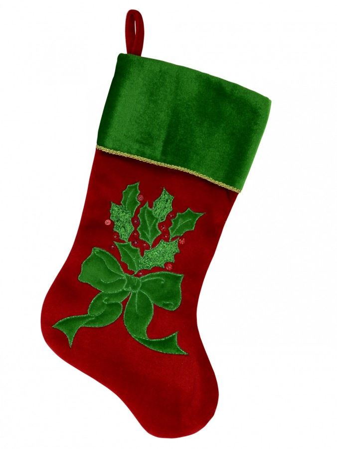 Red & Green Velvet Stocking With Holly Leaf Applique & Embroidery - 46cm