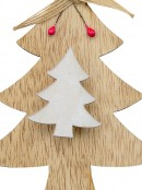 Natural & White Wood Christmas Tree With Peg Clip Hanging Decoration - 12cm