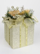 Gift Box Hanging Ornament in Champagne with Greenery - 17cm