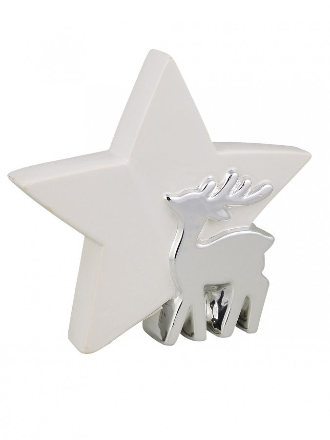 Ceramic Standing Star Ornament with Reindeer in White & Silver - 18cm
