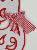 Red & White Dacron Reindeer Hanging Decoration - 58cm