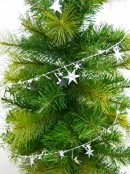Shiny Silver Hexagram Star Wired Christmas Garland - 7.6m