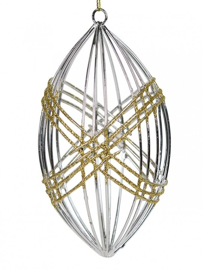 Silver Open Wire Olive Shaped Hanging Ornament - 12cm