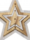 Natural & White Layered Wood Star Christmas Tree Hanging Decoration - 15cm