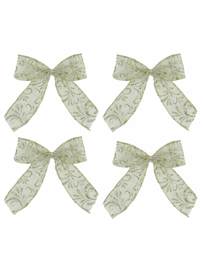 Champagne With Gold Glitter Pattern Sheer Fabric Bows - 6 x 15cm