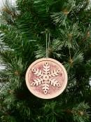 Natural Look Wood Snowflake Medallion Hanging Decoration - 12cm