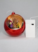 Illuminated, Rotating & Musical Red Bauble With Santa Scene - 12cm