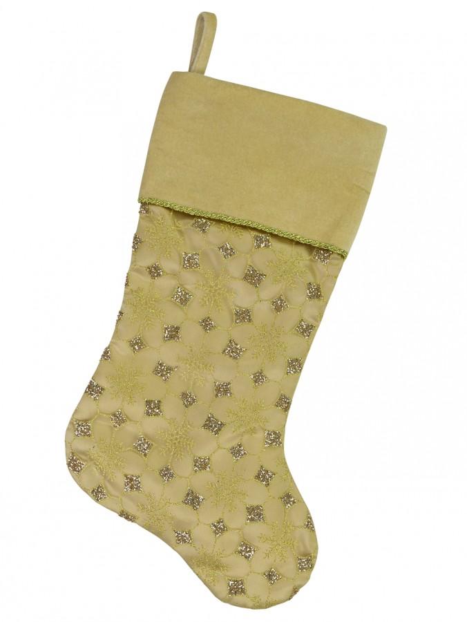 Gold Organza Stocking With Glitter Star & Snowflake Design - 46cm
