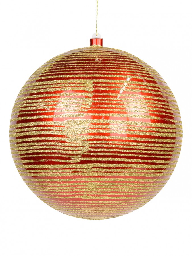 Giant Red Gloss Bauble with Thin Gold Glitter Stripe Design - 25cm