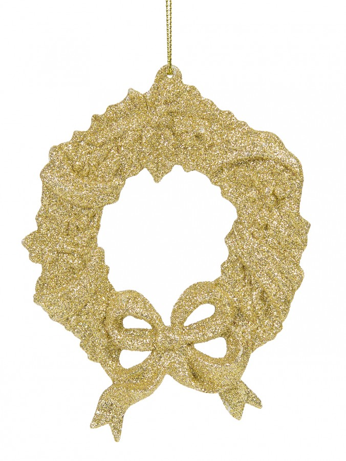 Champagne Glitter Wreath Hanging Ornament - 12cm