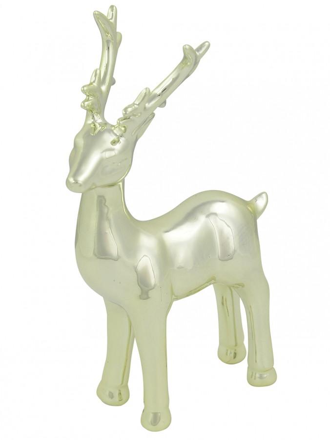 Champagne Elegant Standing Cermic Reindeer Ornament - 20cm