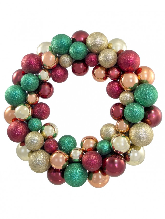 Red, Gold & Emerald Bauble Wreath - 35cm
