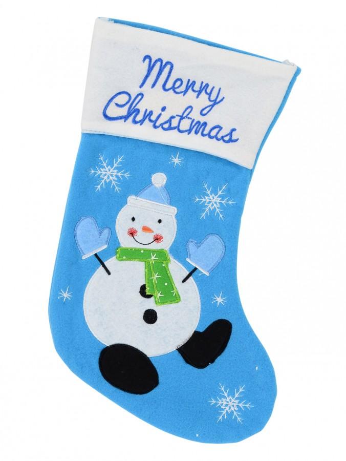 Snowman On Blue Fleece Christmas Stocking With Merry Christmas - 40cm