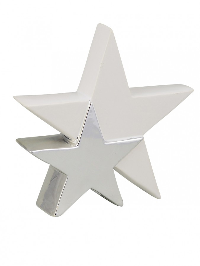 Ceramic Double Standing Star Ornament In White With Silver - 17cm