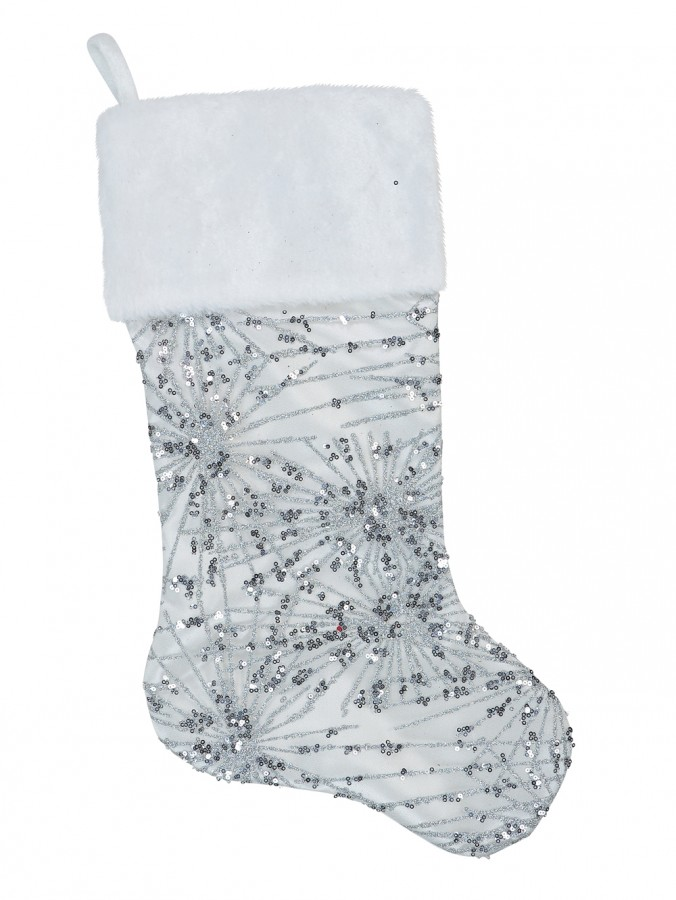 White Satin With Silver Sequin Starburst Pattern Christmas Stocking - 48cm