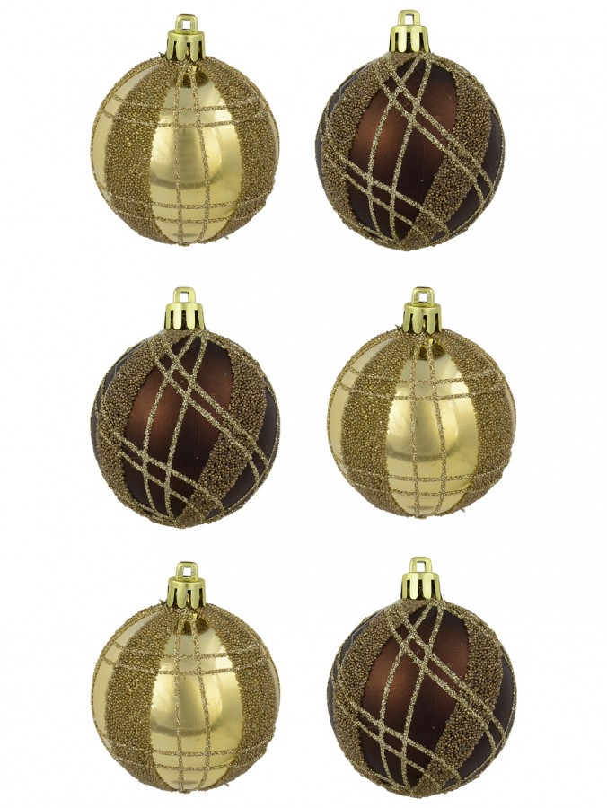 Brown Matte & Gold Metallic With Sprinkle & Glitter Detail Baubles - 6 x 60mm
